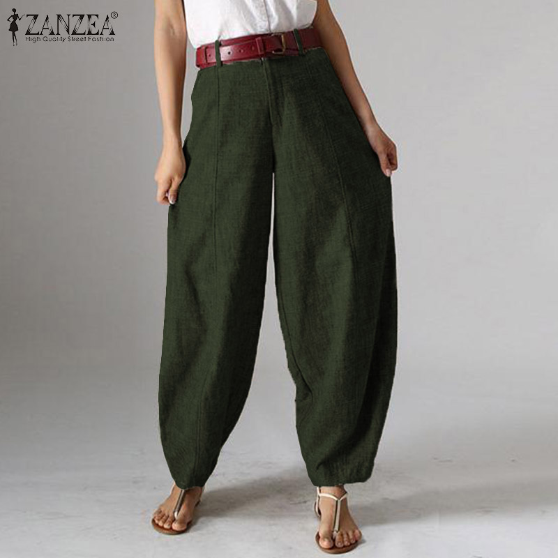 ZANZEA Womens Floral High Waist Zip Up Casual Baggy Pants Wide Leg Trousers Plus