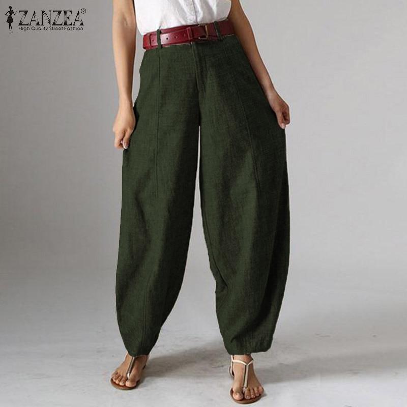 ZANZEA Elegant Women High Waist   Wide     Leg     Pants   Casual Solid Lanten   Pants   Loose Trousers Ladies Work OL Harem Pantalon Plus Size