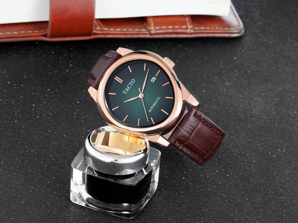 Luxury Brand TACTO Men Watches Man Japan NH35 Automatic Mechanical Wristwatch Genuine Leather Male Clock Relogio Masculino in Mechanical Watches from Watches