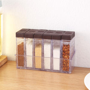 6 Pcs  Bag Plastic Seasoning Box with Base Kitchen Salt Pepper Cumin Powder Box Set MSG Seasoning Seasoning Storage Box