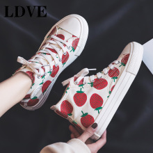 Woman Fashion Shoes 2019 Spring New Women Canvas Casual Breathable Cute Strawberry Sneakers