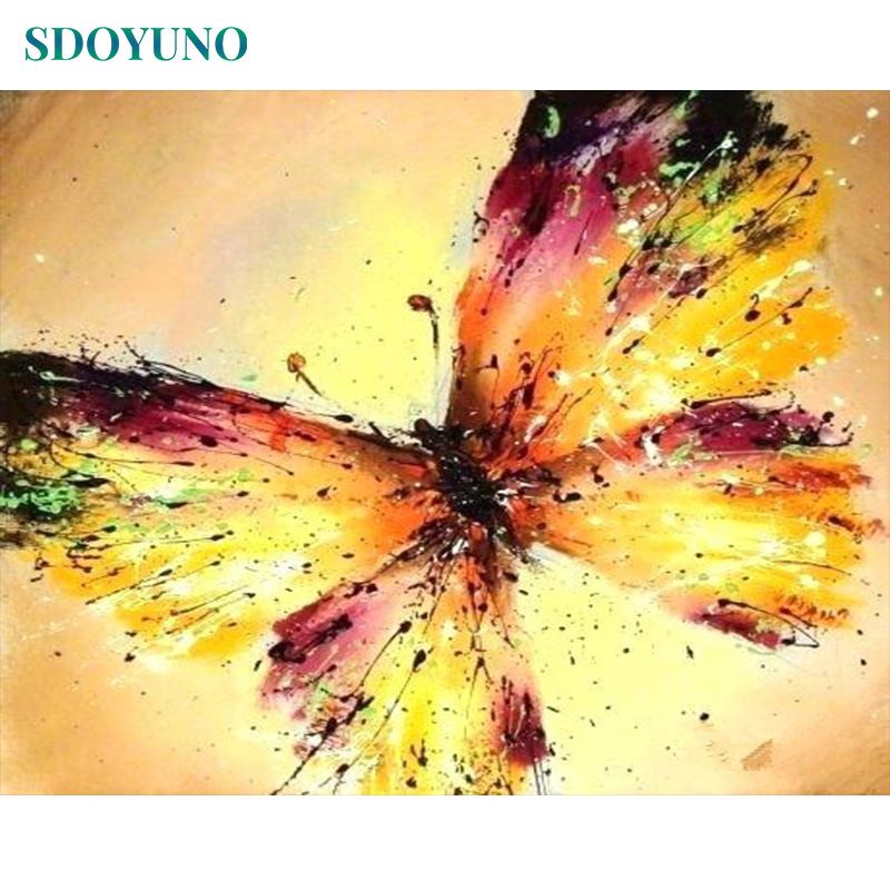 SDOYUNO Pictures By Numbers Digital Painting 60x75cm DIY Painting By Numbers Frameless Golden Butterfly Home Decor On Canvas