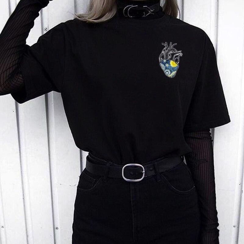 HAHAYULE-JBH Women's Starry Night Heart Printed T-Shirt Tumblr Fashion Van Gogh Tee Retro Style Hipsters Grunge Art Hoe Shirt