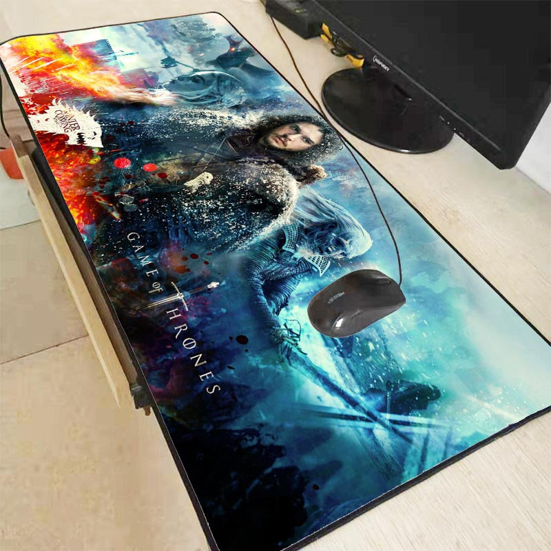 XGZ Game Of Throne Movie Large Gaming Mouse Pad Lock Edge  Mat Keyboard  Desk  For Laptop Computer Gamer Pad XXL