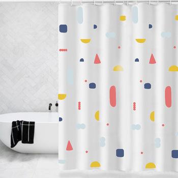 Zasłona prysznicowa wolna perforowana wodoodporna kurtyna łazienka prysznic wodoodporna tkanina łazienka zasłona prysznicowa zasłona prysznicowa tanie i dobre opinie CN (pochodzenie) Peva Nowoczesne GEOMETRIC YS-11 Ekologiczne Zaopatrzony