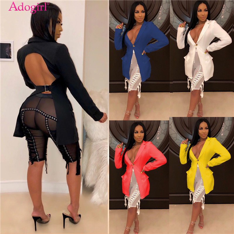 Adogirl Solid Backless Asymmetrical Blazer Coat Women Fashion Casual Turn Down Collar Full Sleeve Business Suit Outwear Jacket