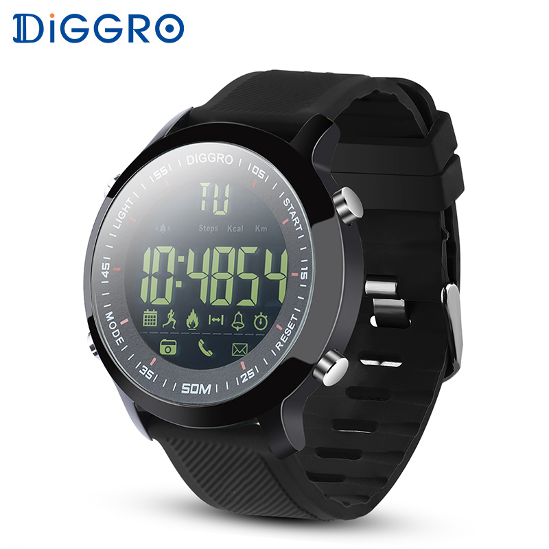 Diggro DI04 Smart Watch IP68 Waterproof 5ATM Pedometer Message Reminder Swim Fitness Watch for Android IOS Black dial