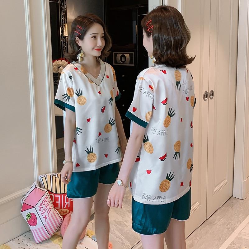 8830 # Pajamas Women's Summer Viscose Thin Sexy Cute Real Silk Short Sleeve Two-Piece Set Summer Home Wear