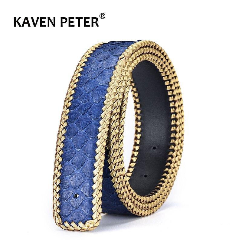 Cinturones de cuero de piel de pitón Real sin hebilla 3,8 CM de ancho de alta calidad de moda tejido trenzado de lujo para hombre cinturones de cintura azul