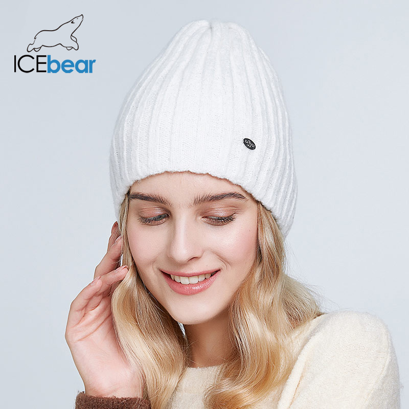 ICEbear Thick Warm Winter Hats For Women Soft Mohair Knitted Female Caps Double Lining Beanies E-MX19103