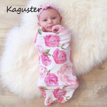 Baby Blankets Swaddle Cotton Soft Newborn Bath Towel Cocoon Sleeping Bag with Matching Knotted Bow Headband