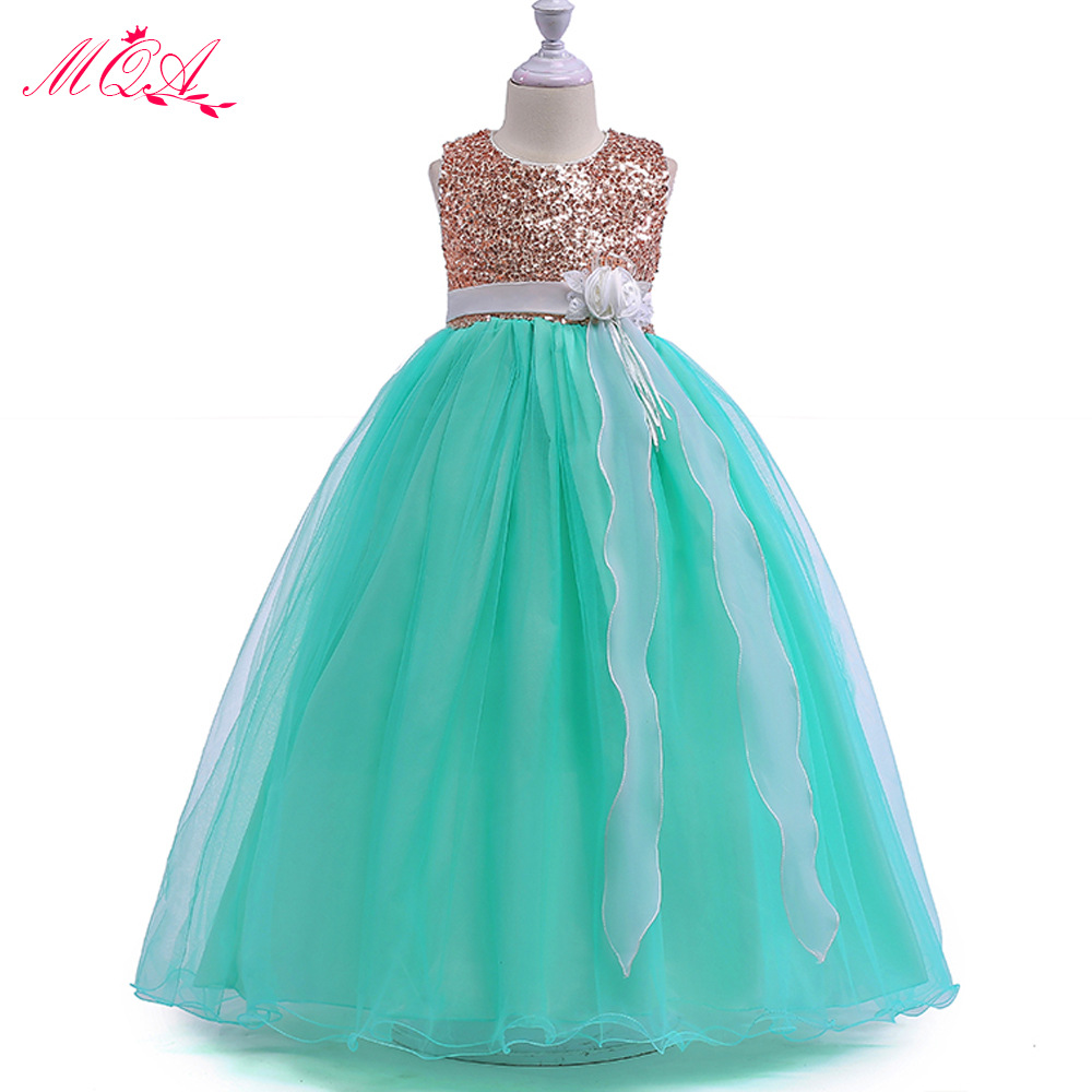 2018 CHILDREN'S Full Dress New Girls Performance Wear Flower Boys/Flower Girls Wedding Dress Sequin Gauze Princess And To Long S