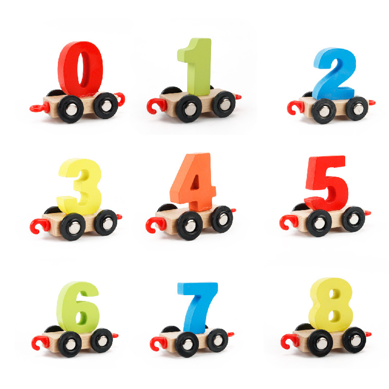 2018 novo brinquedo digital pequeno trem brinquedos crianças blocos de construção de madeira desmontar e montar modelos de escala de brinquedo de madeira trem