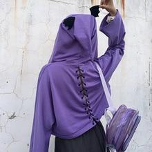 Harajuku Zipper Sweatshirt Women Devil Horn Cross Bandage Long Sleeve Top Hooded Fashion Streetwear Loose Purple Hoodies Female