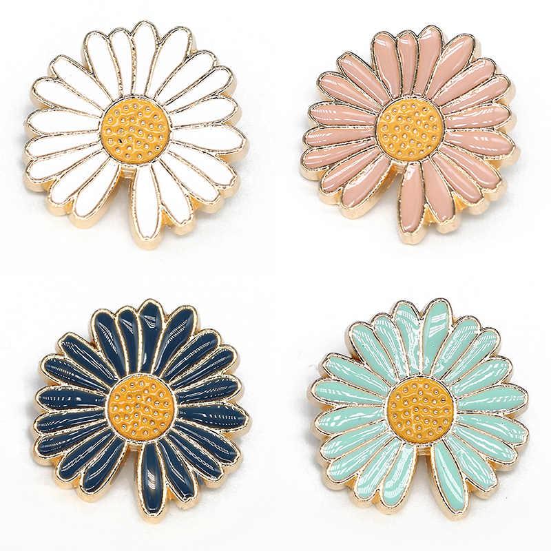 Botones decorativos de aleación para ropa de margaritas de 20mm y 25mm, hebilla Vintage con flor para coser, accesorios a presión para ropa