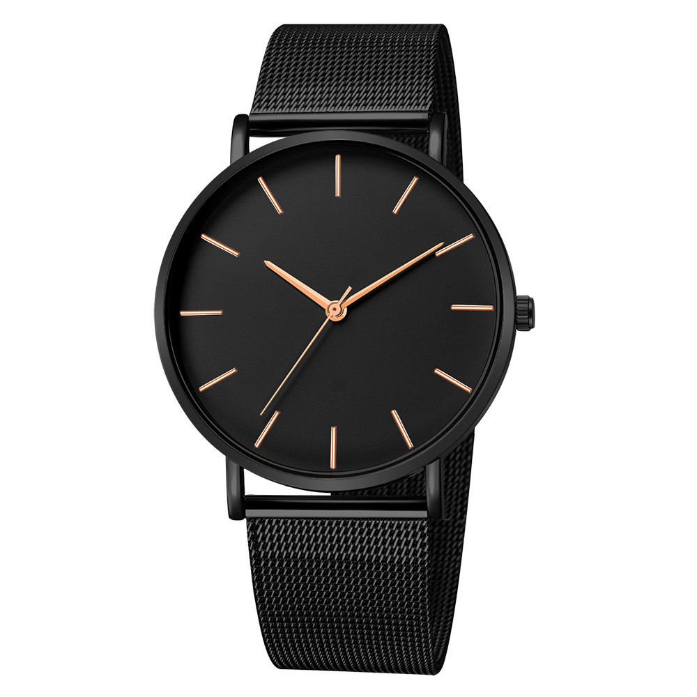 Fashion Casual Watch Womens Metal Hour Reloj Mujer Quartz Wristwatch Simple Montre Femme Mesh Black Stainless Steel Bracelet saa 4