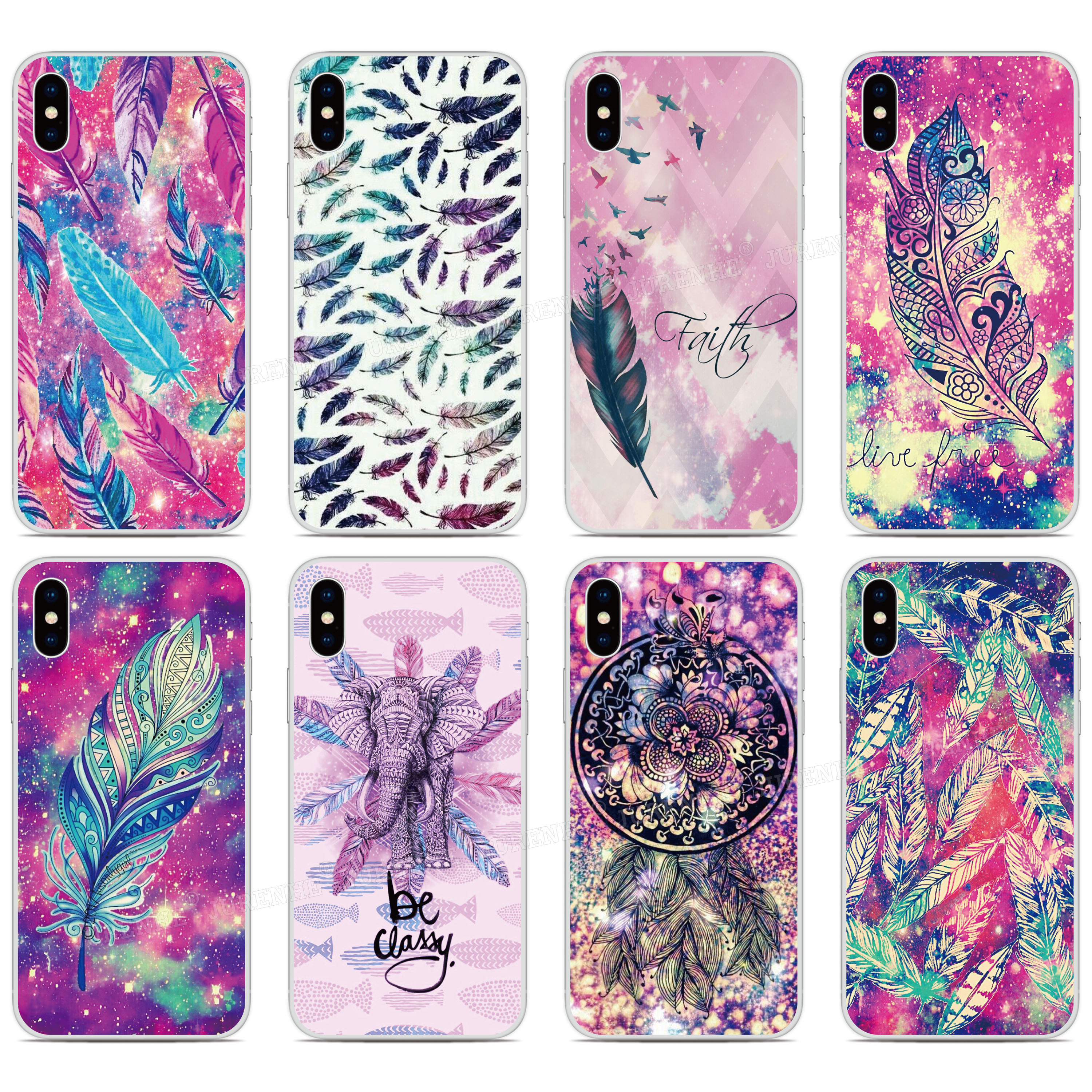 Print Soft TPU Fundas Colorful Feather Phone Case For <font><b>Leagoo</b></font> <font><b>M8</b></font> <font><b>Pro</b></font> / S11 S9 S8 <font><b>Pro</b></font> T8S M11 M13 Power 2 / Power 5 Silicone Cover image