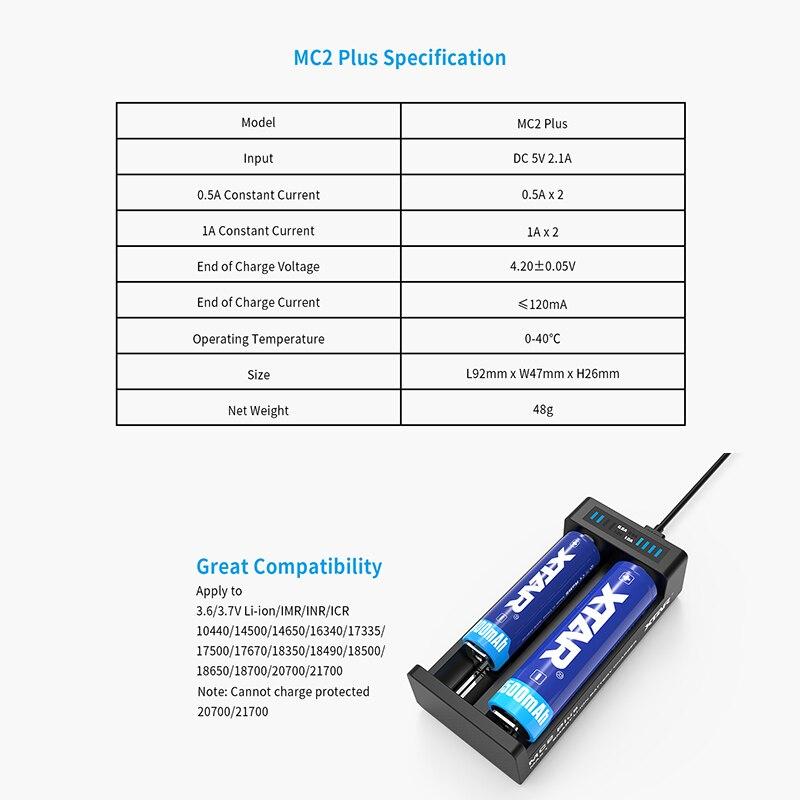 Xtar VC2 USB Li-ion Battery LCD 18650 Charger For 3.7V 10440-26650 batteries.