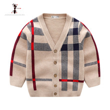 Kung Fu Ant 2019  Autumn Casual Khaki Lattice Boys Sweaters for Single Breasted Wool Knitted 24M Baby Clothes