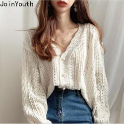Joinyouth Sweaters Fashion 2020 Women New Korean Chic Clothes Vintage Sweet V-neck Cardigan Hook Flower Follow Hollow Out Tops