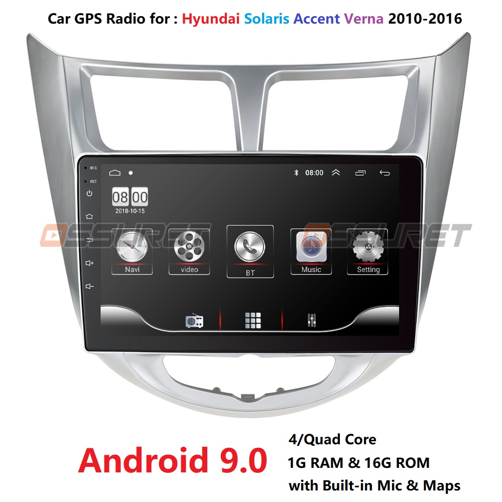 9''2 din Android 9.0 car DVD player for modern Solaris accent Verna 2010-2016 radio recorder Gps WIFI usb DAB+ audio