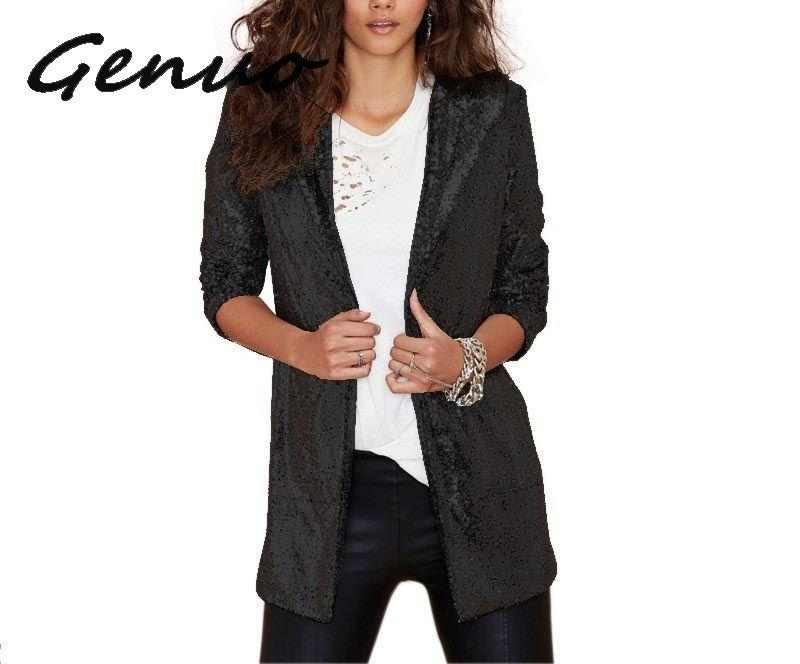 Autumn Fashion Women Silver Sequined Coats Turn-Down Collar Long Sleeve Outwears Cardigan Jackets