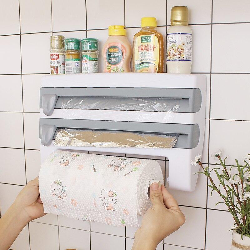المطبخ غشاء تغليف قطع حامل زجاجة صلصة القصدير احباط ورقة تخزين الرف حامل المناشف الورقية منظم مطبخ