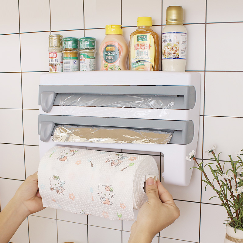 Kitchen Cling Film Cutting Holder Sauce Bottle Tin Foil Paper Storage Rack Paper Towel Holder Kitchen Organizer