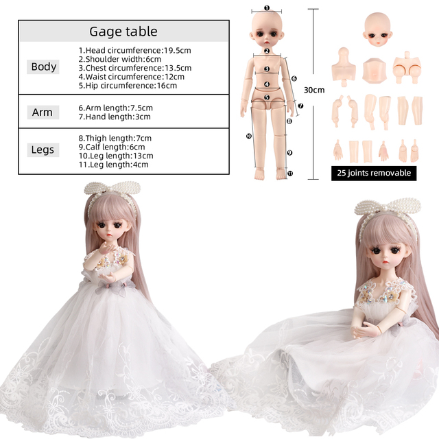 1/6 BJD Doll 18 Ball Jointed Dolls 30CM Girls Doll With White Dress Wig Shoes Makeup Toys For Girls Birthday Gifts Collection 5