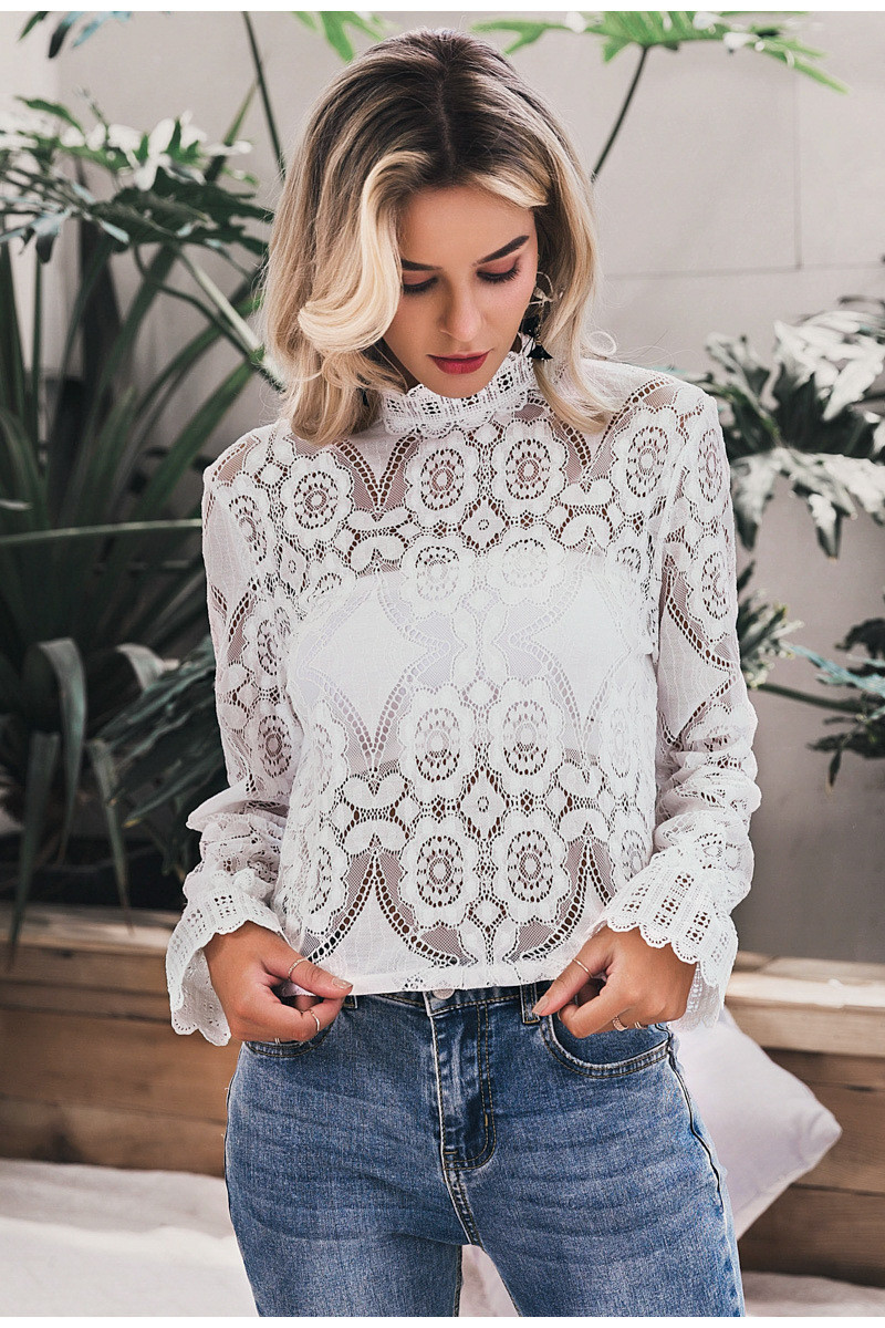 Elegant Women White Lace Blouse Shirt Sexy Hollow Out Embroidery Feminine Blouse Long Lantern Sleeve Summer Tops Female Blusa