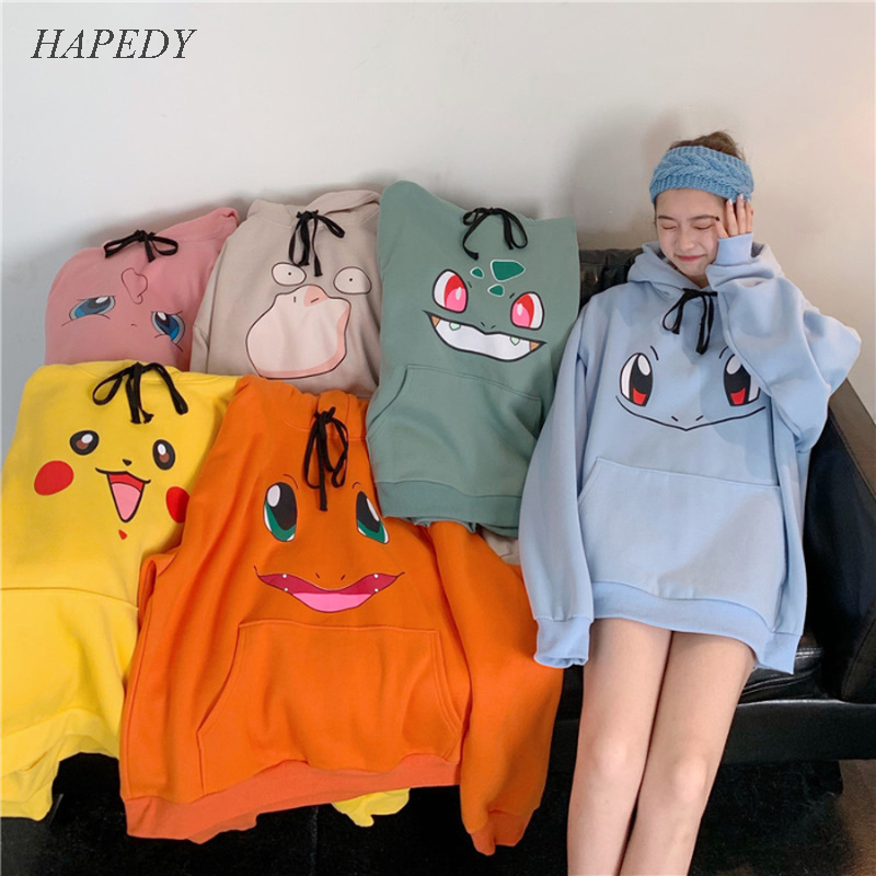 Amine Loose Hoodies Women Hip Hop Sweatshirt Girls Harajuku Long Sleeve Japan Hoodie Streetwear Cute Cartoon Hoodie Men Womens