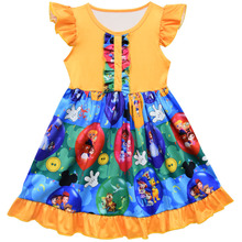 Popular Boutique Remake Dress Fashion Flutter Sleeve Girl Summer Milk Silk Children Princess Ruffle Clothing