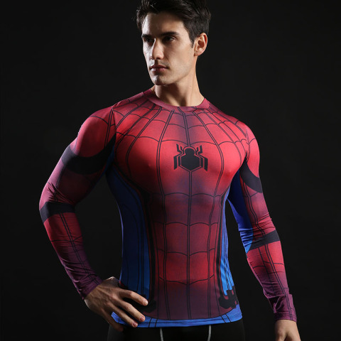 Spider-Man shirt gym shirt men running long sleeve compression shirts tight marvel t shitrs Batman superman sports t shirt brand Pakistan