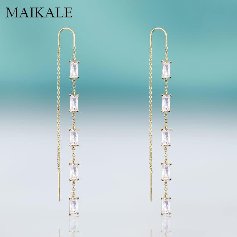 MEKALE Neue Mode Lange Ohrringe mit Platz Zirkonia Kupfer Kette Tropfen Baumeln Ohrringe für Frauen Hochzeit Partei Schmuck