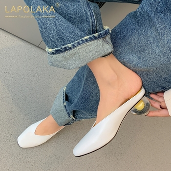 Lapolaka Fashion Hot Sale Genuine Cow Leather Strange Style Summer Shoes Woman Pumps Mules Slip-On INS Hot Pumps Women Shoes