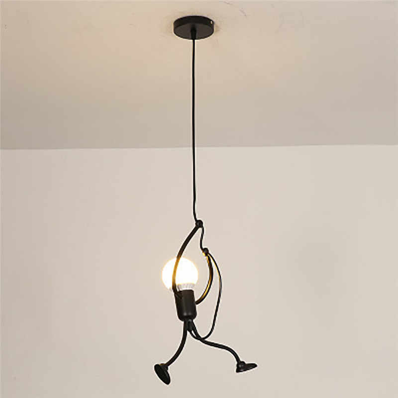 Modern Charming Hanging Chandelier Creative Iron People Lamp Elegant Hanger Luminaire Adjustable Height Iron chandelier