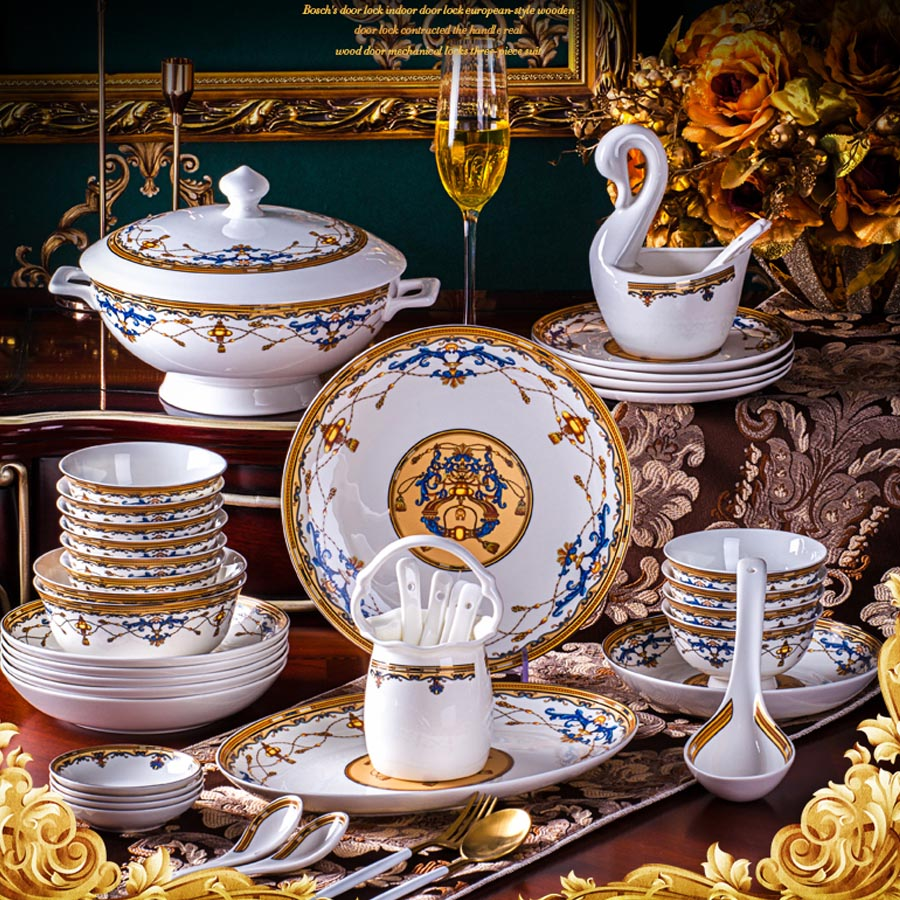 60 Heads Jingdezhen Ceramic Dinner chinese dishes Rice Bowl Soup Bowl Salad Noodles Bowl Plate Dinnerware Sets Tableware