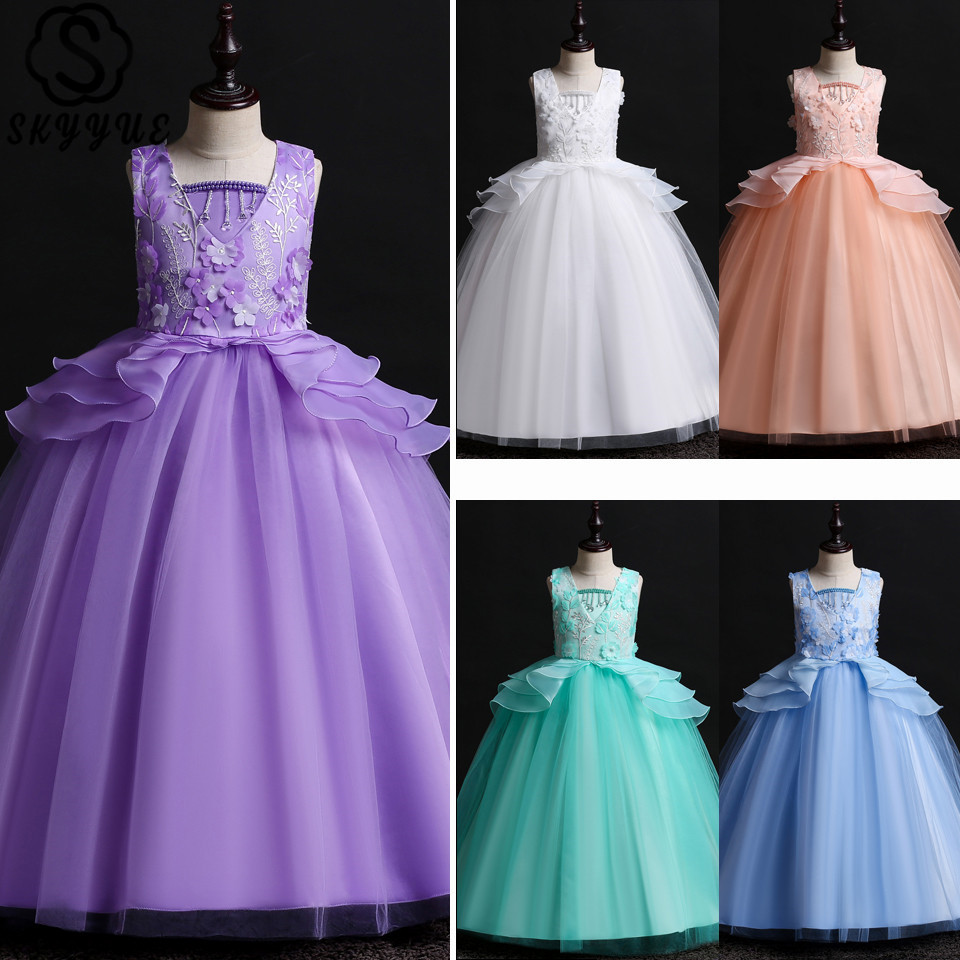 Skyyue Appliquie   Girl   Pageant   Dress   Lace   Flower   Tulle Communion Gowns O-neck Bow   Flower     Girl's     Dresses   for Wedding 2019 739