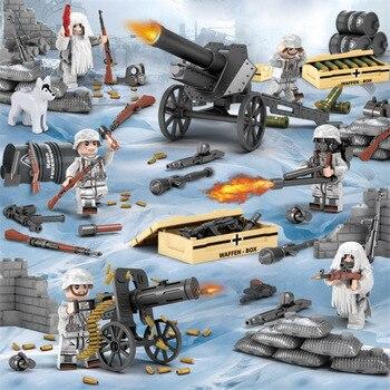6 pièces WW2 alpes bataille armée militaire neige camouflage soldats avec mitrailleuses armes blocs de construction briques jouets pour enfants