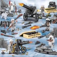 6pcs WW2 Alpes batalha Militar Do Exército camuflagem Neve Soldados com metralhadoras Armas Blocos de Construção de Tijolos Brinquedos para As Crianças