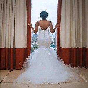 Image 3 - צנוע אפריקאי בתוספת גודל חתונה שמלות 2020 robe דה mariee בת ים חתונת שמלות חרוזים תחרה בעבודת יד כלה שמלה