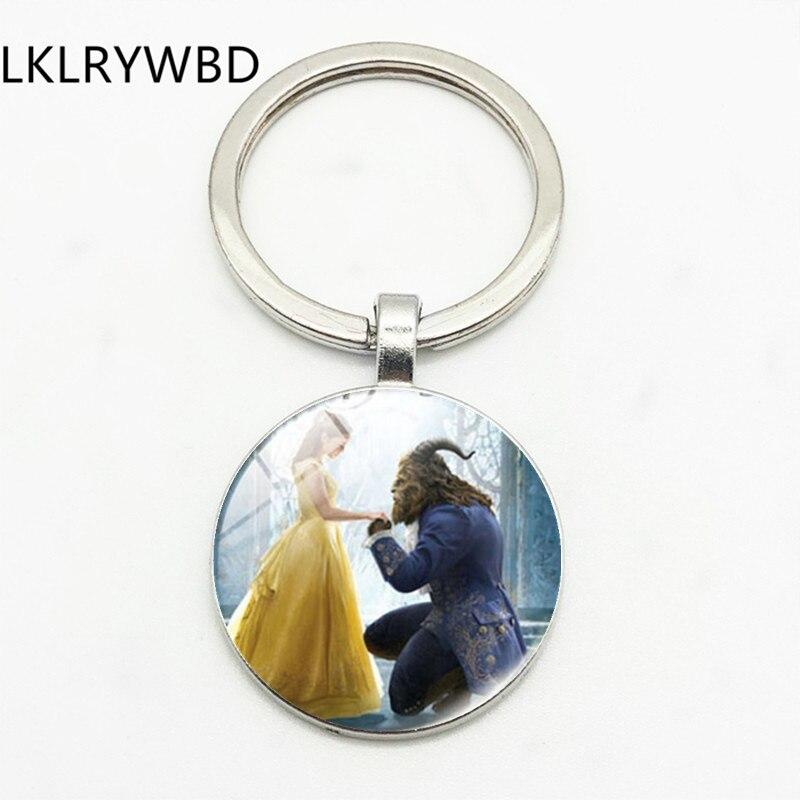 LKLRYWBD/Schönheit und Biest Anhänger Keychain Prinz und Prinzessin Romantische Süße Märchen Film Runde Keychain Handmade Geschenke