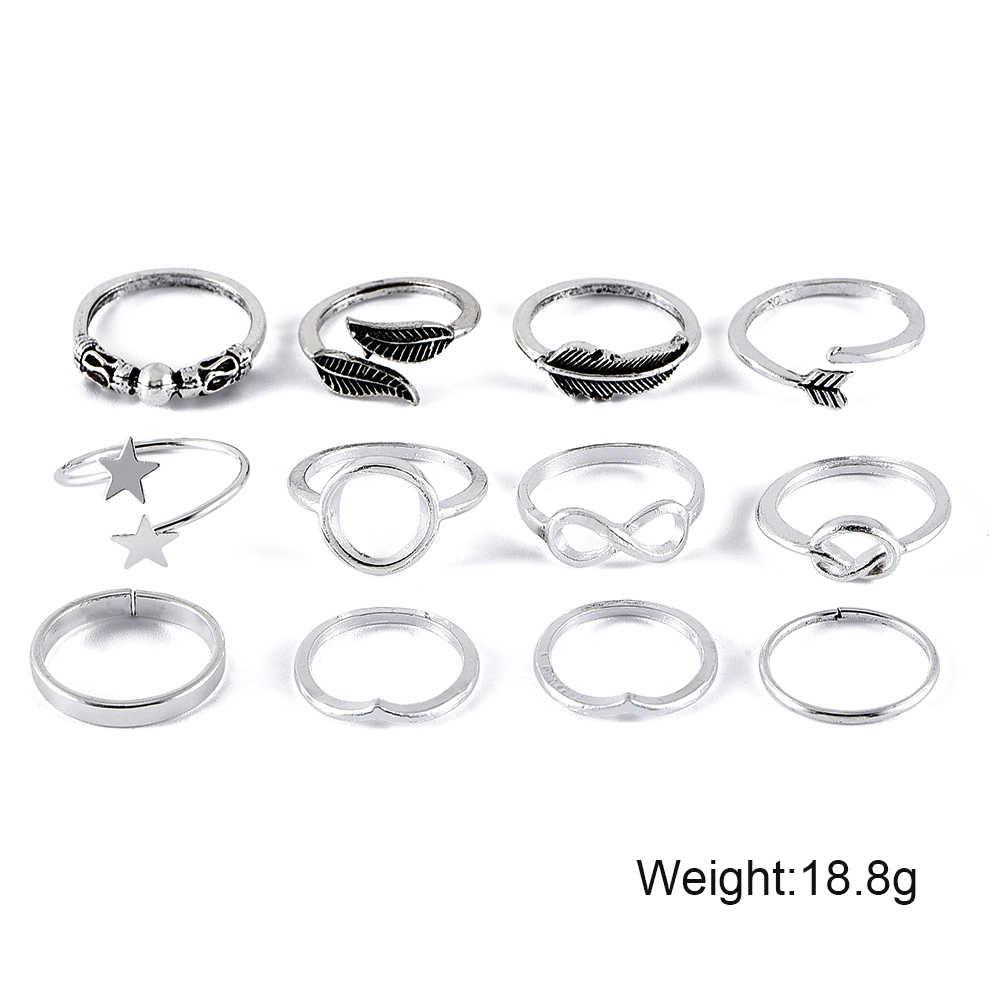 22 estilos, conjunto de anillos Vintage para mujer, anillo de dedo nudillo bohemio con forma de estrella de la luna y la luna, accesorios de joyería de Color dorado y plateado para mujer
