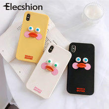 Funny Cartoon For iPhone 7 6 8 Case Phone 6S Plus Yellow Duck Cute Silicon Cover Apple Xs Max Capa