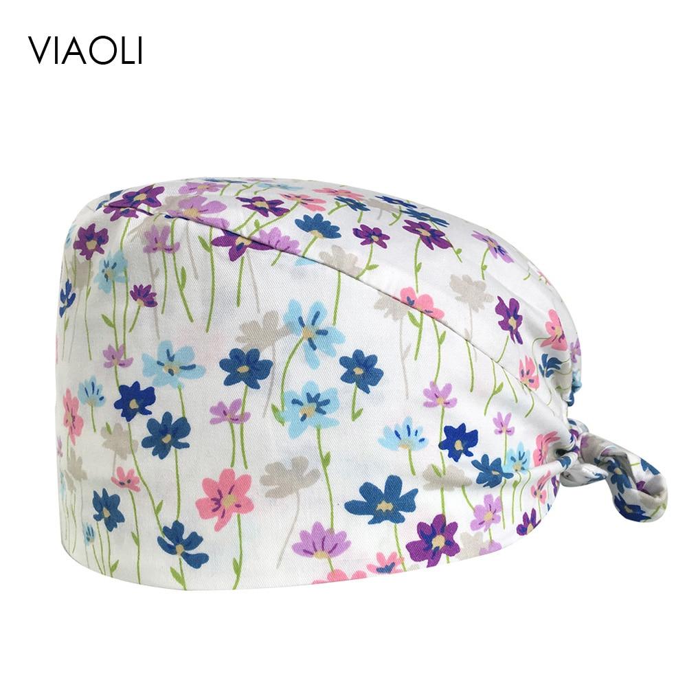 Doctor Nurse Scrub Medical Cotton Surgical Caps Print Operat Room Hat Breathable Stomatology Hospital Work Hat Beauty Hat Unisex
