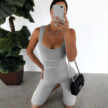 2020 New Women Sleeveless Tank Jumpsuit Rompers Playsuit Bodycon Slim Solid Stre