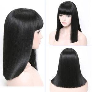 Image 2 - COSYCODE 여성을위한 bangs와 블랙 합성 가발 16 inch 40 cm 코스프레 가발 어깨 길이 의상 가발 스트레이트