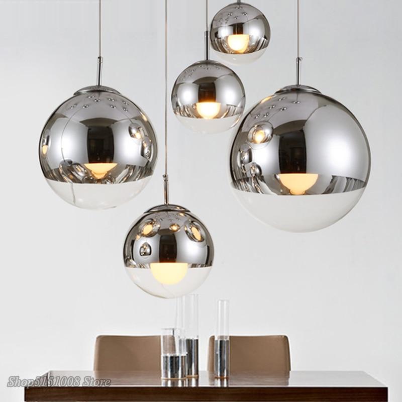 Modern Silver Gold  Glass Ball Pendant Light Round Pendant Lamp Luminaire Dining Living Room Kitchen Hanging Lamp Light Fixtures