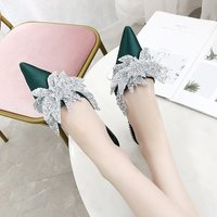 2019 Summer Outdoor New Satin Bow Sequined Rhinestone Pointed Tip Baotou Sequin Flat Slippers Female Half Drag