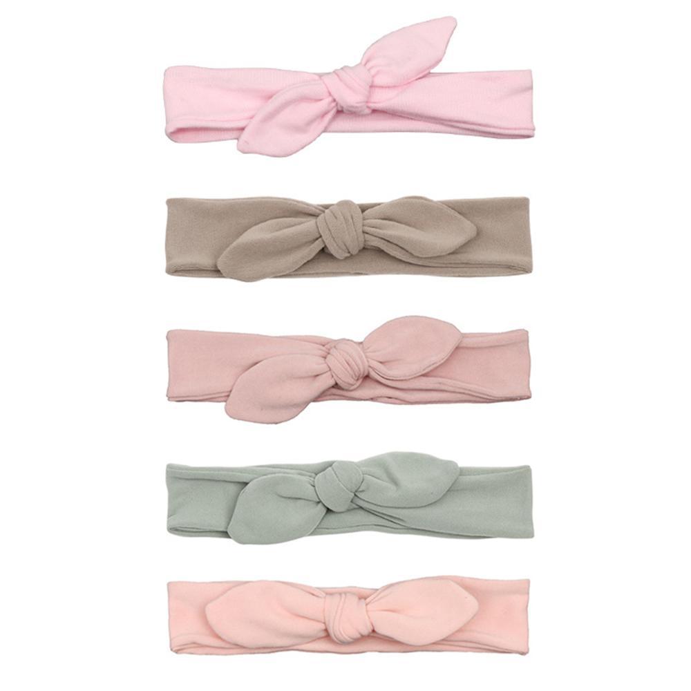 Cotton Rabbit Ear Baby Headbands For Girls Handmade Solid Elastic Soft Knot Bow Baby Headband Headwear Newborn Hair Accessories